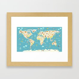 Animals world map. Beautiful cheerful colorful vector illustration for children and kids Framed Art Print
