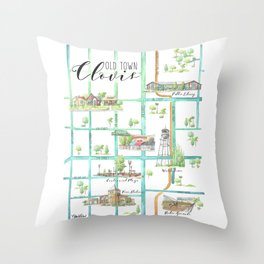 Old Town Clovis, California Hand Painted Watercolor Map Throw Pillow