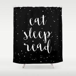 Eat, Sleep, Read (Stars) Shower Curtain