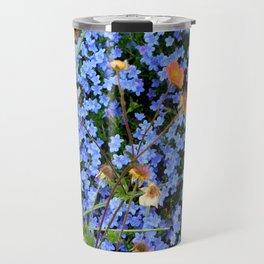 Blue, Orange, and Green Travel Mug