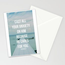 Cast All Your Anxiety On Him, Because He Cares For You - 1 Peter 5:7 - Bible Quote - Inspirational Q Stationery Cards