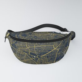 Quezon City Map of the Philippines - Gold Art Deco Fanny Pack