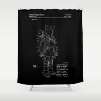 nasa Shower Curtains featuring NASA Space Suit Patent - White on Black by Elegant Chaos Gallery