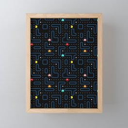 Pac-Man Retro Arcade Video Game Pattern Design Framed Mini Art Print