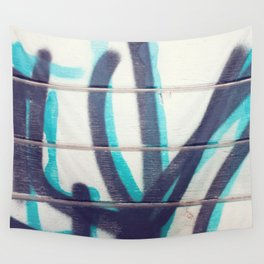 Teal and Black Grafitti Wall Tapestry