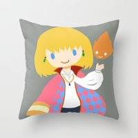 calcifer Throw Pillows featuring Howl and Calcifer by Mayying