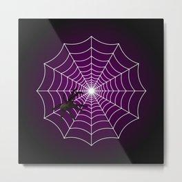 Zombie Purple Spider Web Metal Print