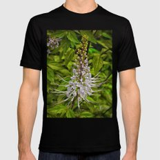Cats Whiskers flower MEDIUM Black Mens Fitted Tee