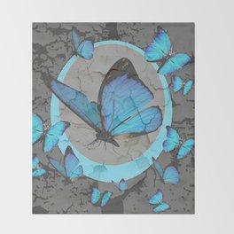 SHABBY CHIC  NEON BLUE BUTTERFLIES  & CHARCOAL GREY  N MOD Throw Blanket