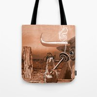 chicago bulls Tote Bags featuring Bulls Eye by Laura Brightwood