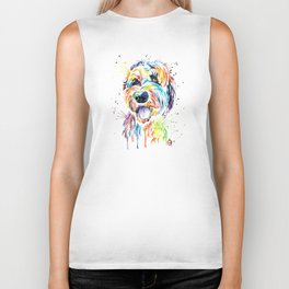 Goldendoodle, Golden Doodle Watercolor Pet Portrait Painting Biker Tank
