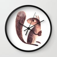 squirrel Wall Clocks featuring Squirrel by Chuck Groenink