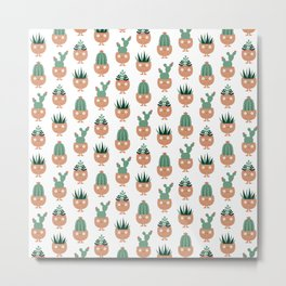 Cute terracotta pots with succulent hairstyles Metal Print