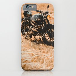 Old motorcycle photo, café racer, man cave gift, mancave, scrambler, cafe racer iPhone Case