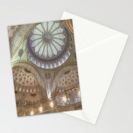 Blue Mosque, Istanbul - ceiling with hanging chandelier Stationery Cards