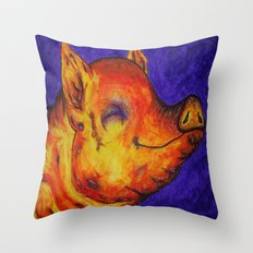 Pig, Happy Throw Pillow