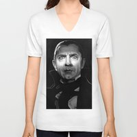 actor V-neck T-shirts featuring Bela Lugosi is Dead by Thubakabra