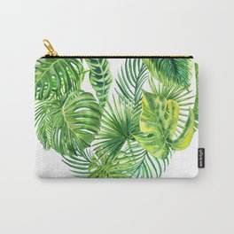 heart made of watercolor tropical leaves Carry-All Pouch