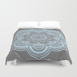 Mandala Flower Gray & Baby Blue Duvet Cover