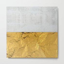 Gold Foil and Concrete Metal Print
