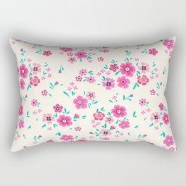"Cute Floral pattern of small pink flowers. ""Ditsy print"". Rectangular Pillow"