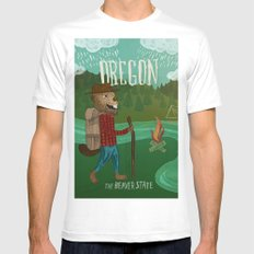 Oregon MEDIUM White Mens Fitted Tee