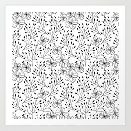 Doodle flowers in black and white Art Print