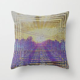 Digital Sunset Harmonic Moon Fractal #2 Throw Pillow