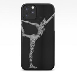 9494s-DJA B&W Slim Striped Nude Woman Elegant Yoga Pose iPhone Case