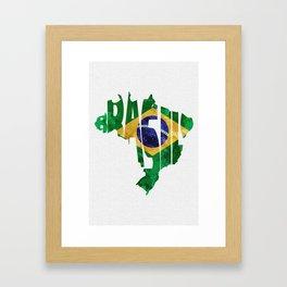Brasil Typographic World Map / Brasil Typography Flag Map Art Framed Art Print