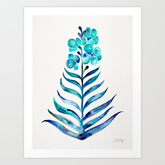 Blooming Orchid – Navy & Turquoise Palette Art Print