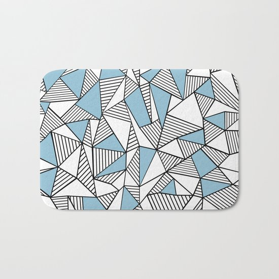 Abstraction Lines Sky Blue Bath Mat
