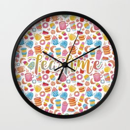 Tea Time Watercolor Wall Clock