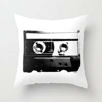 cassette Throw Pillows featuring CASSETTE by by INK! - Sandie Dolleris Thomsen