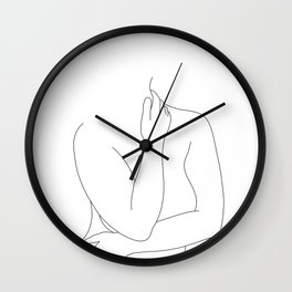 Nude figure line drawing - Eila Wall Clock