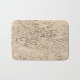 Vintage Pictorial Map of Oxford England (1850) Bath Mat