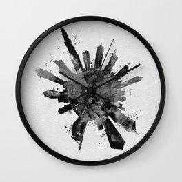 Dubai, United Arab Emirates Black and White Skyround / Skyline Watercolor Painting Wall Clock