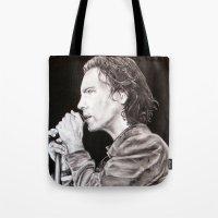 eddie vedder Tote Bags featuring Eddie Vedder - Pearl Jam by whiterabbitart