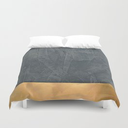 Slate Gray Stucco w Shiny Copper Metallic Trim - Faux Finishes - Rustic Glam Duvet Cover