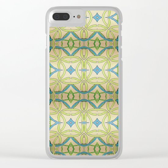 Blue Green Abstract Clear iPhone Case