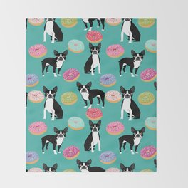 Boston Terrier donuts cute gifts for pure breed dog lover boston terriers owners Throw Blanket