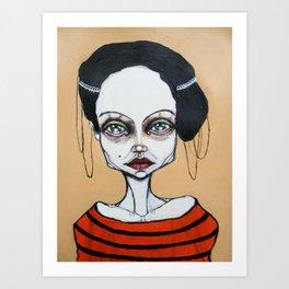 black orange stripes Art Print