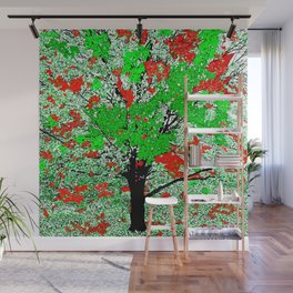 TREE RED AND GREEN LEAF Wall Mural