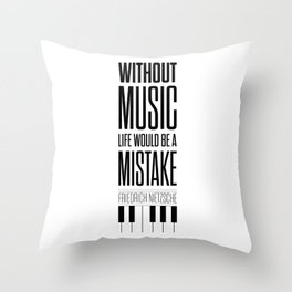 Lab No. 4 - Friedrich Nietzsche Quote life music typography poster Throw Pillow