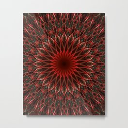 Leaves ornamented mandala Metal Print