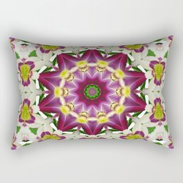 Daylily mandala 1, red-violet, cream and yellow Rectangular Pillow