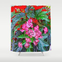 RED ART ANGEL WING PINK BEGONIA FLOWERS Shower Curtain