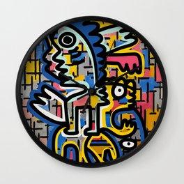 Graffiti Street Art Remix Composition Mondrian  Wall Clock