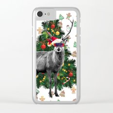 Christmas Deer Clear iPhone Case