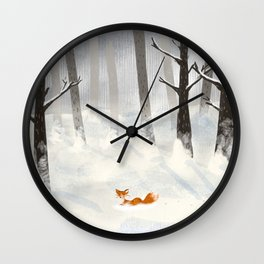 The Fox in the Snow Wall Clock
